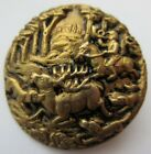 Spectacular LARGE Antique~ Vtg Metal Sporting BUTTON Hunting Dogs Horse Deer (W)