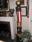 ANTIQUE WOOD SIDEWALK BARBER POLE--100 YEARS OLD--REAL DEAL-ONE PIECE SOLID WOOD