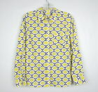 Womens TALBOTS Yellow Blue Print Button Front Roll Tab Sleeve Top Size Small