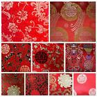 Faux Silk BrocadeRed BackgroundJacquard Damask Kimono Fabric Material BL22 BY