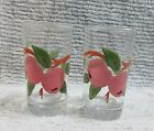 Pair Old 1950's Glass Gay Fad Hand Painted Apples Fruit 4