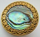 Dazzling Antique~ Vtg Victorian Metal BUTTON w/ Carved Abalone Shell 1- 1/8