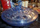 Beautiful Vintage Blue Glass Decorative Candy Dish Bowl with Cover NICE