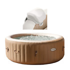 Intex 28403E Pure Spa 4 Person Inflatable Heated Hot Tub With Soft Foam Headrest