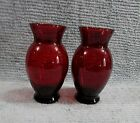 Pair Vintage Royal Ruby Red Two Old Anchor Hocking Glass Vases FREE S/H
