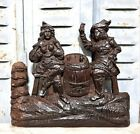 Gothic medieval tavern scene ornament Antique french wooden salvaged furniture
