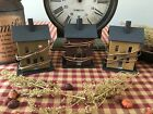 Primitive* Wooden Saltbox Houses w/ hole for tea light set/3* Country Farmhouse