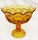 Moon and stars amber footed compote large L.E. Smith flared scalloped edge