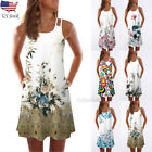 Women Summer Vintage Sleeveless Dress 3D Floral Print Bohe Tank Short Mini Dress