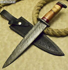 RARE CUSTOM HAND MADE DAMASCUS HUNTING BOWIE KNIFE BURL WOOD BY LOUIS MARTIN