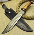 RARE CUSTOM HAND MADE DAMASCUS HUNTING BOWIE KNIFE OLIVE WOOD BY LOUIS MARTIN