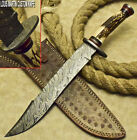 RARE CUSTOM HAND MADE DAMASCUS HUNTING BOWIE KNIFE STAG ANTLER BY LOUIS MARTIN