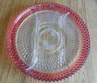 Large Vintage Clear and Cranberry Glass Kings Crown DIVIDED PLATE 12