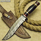 RARE CUSTOM DAMASCUS HAND MADE HUNTING BOWIE KNIFE BULL HORN BY LOUIS MARTIN