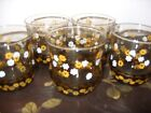 5 Strawflowers by Libbey-Tawny Yellow Daisies on Brown 8 oz Tumblers Glasses-VGC