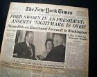 GERALD FORD Sworn In as United States President & NIXON Leaves 1974 Newspaper