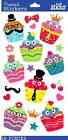 Sticko Scrapbooking Crafts Glittered Stickers Bright Birthday Dress Up Cupcakes
