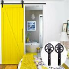 6.6FT Steel Sliding Track Barn Wood Door Closet Hardware Set Black Arrow Shape