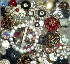 Antique Vintage Sparkling RHINESTONES,Glass Old Plastic Metal 110 Buttons Lot