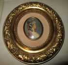 ANTIQUE GESSO OVAL FRAME w MINIATURE OF WOMAN w SIGNATURE ~ 9