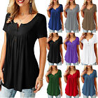 Womens Summer Short Sleeve Blouse T Shirt Tops Casual Loose Tunic Tee Plus Size