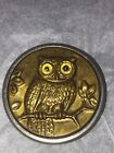 AWESOME Antique Large OWL Picture BUTTON with GLASS EYES 1.5 inch ~ HTF~ RARE