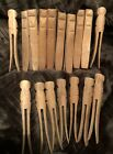 Lot Of (17) Primitive Old Wooden Clothes Pins