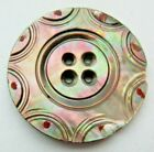 Fabulous LARGE Antique~ Vtg Carved Smokey MOP Shell BUTTON Hand Painted (J)