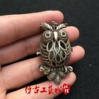 Hand-carved Chinese antique Tibetan silver owl pendant with hollow beads.