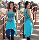VOCAL CRYSTAL TEAL BLACK FLORAL CROSS LACE HI LOW TUNIC TANK SHIRT S M L XL USA