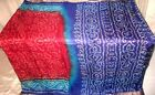 Maroon Blue Pure Silk 4 yd Vintage Sari Saree Pattern favourite Shary NR #A15XM