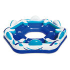 Summer Waves Inflatable 6 Person Party Pad Pool Beach Lake Float with Cupholders