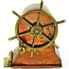 ANTIQUE 1889 SHIP'S WHEEL ENGLISH FIGURAL COPPER WIND-UP SEWING TAPE MEASURE