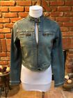 Vintage BBs Closet Fitted Biker Motorcycle Stretch Body Hug Blue Jean Jacket S