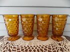 Set of 4 Amber Glass Colony Whitehall Cubist Footed Water Tumblers 6 1/8
