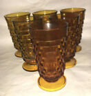 Colony Amber Whitehall Cubist 6 Ice Tea Footed Tumblers