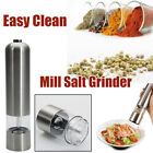 Stainless Steel Automatic Kitchen Electric Pepper Mill Spice Salt Grinder Silver