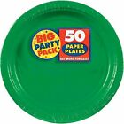 Festive Green Paper Plates Big Party Pack 50 Count
