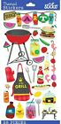 Sticko Scrapbooking Crafts Summer Stickers Cook Out BBQ Metallic Food Grill NEW