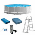 Intex Prism Above Ground Swimming Pool Set w Ladder Cover and Maintenance Kit