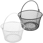 Round Wire Basket w Handle Vinyl Dipped 8 x 5H Great 4 Egg Easter NEW