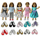 Lot 5 Sets Dress Clothes Shirt  Pants For 18 inch Girl Doll + 2 Pairs Shoes US