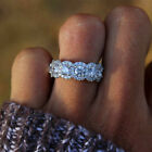 US Gorgeous Round White Sapphire Wedding Ring 925 Silver Bride Jewelry Size 4 12