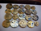lot of 20 0s-18s gilt pocket watch movements altered art steampunk etc