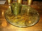 Vintage Green glass Snack plates and  matching cups set,