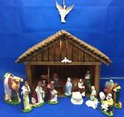 Vtg Nativity Set Holland Mold Ceramic 24 Pieces Plus Lighted Creche Gold Leaf