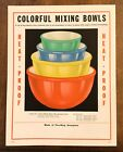 Fire King Colorful Mixing Bowls ~ Fired on Colors Bowl Set Advertising Promo