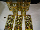 Signed Mid-Century Modern 22K Gold Culver Valencia Glasses Green Diamond Set 8