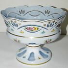 Czech Bohemian Cased White Overlay Compote Light Blue Glass Bowl cut to blue