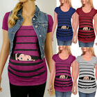 Maternity Cute Funny Baby Print Striped Short Sleeve T shirt Pregnant Tops
